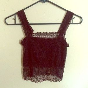 NWOT Black Crop Top with Lace Overlay